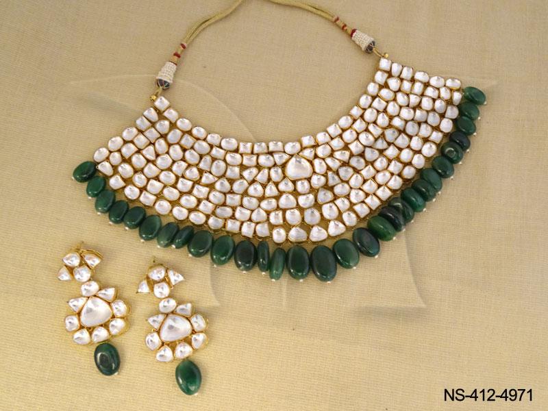 Kundan Necklace Sets : Green Oval Kundan Necklace Sets Kundan ...