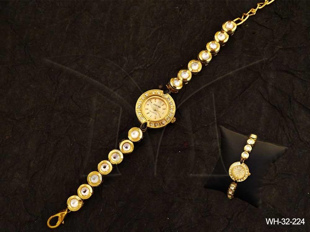Round Kundan Watch Jewellery