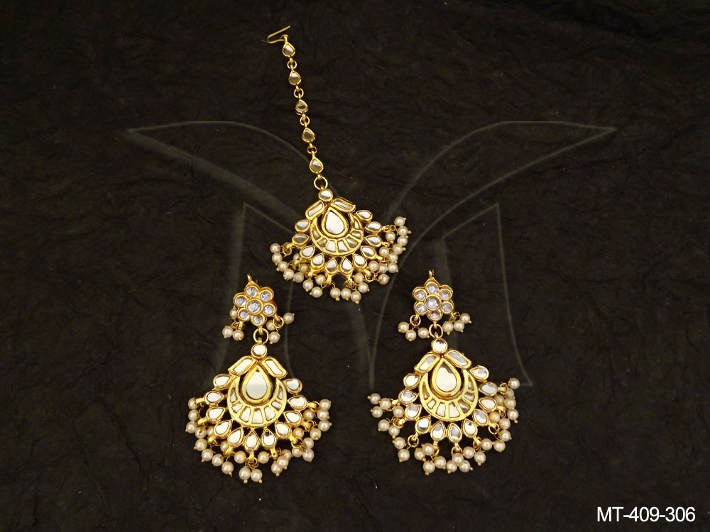 Bridal Kundan jewellery Maang Tikka Set