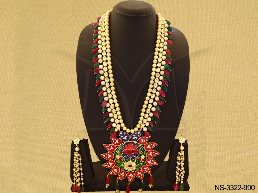 Long Style Sunflower Kundan Necklace