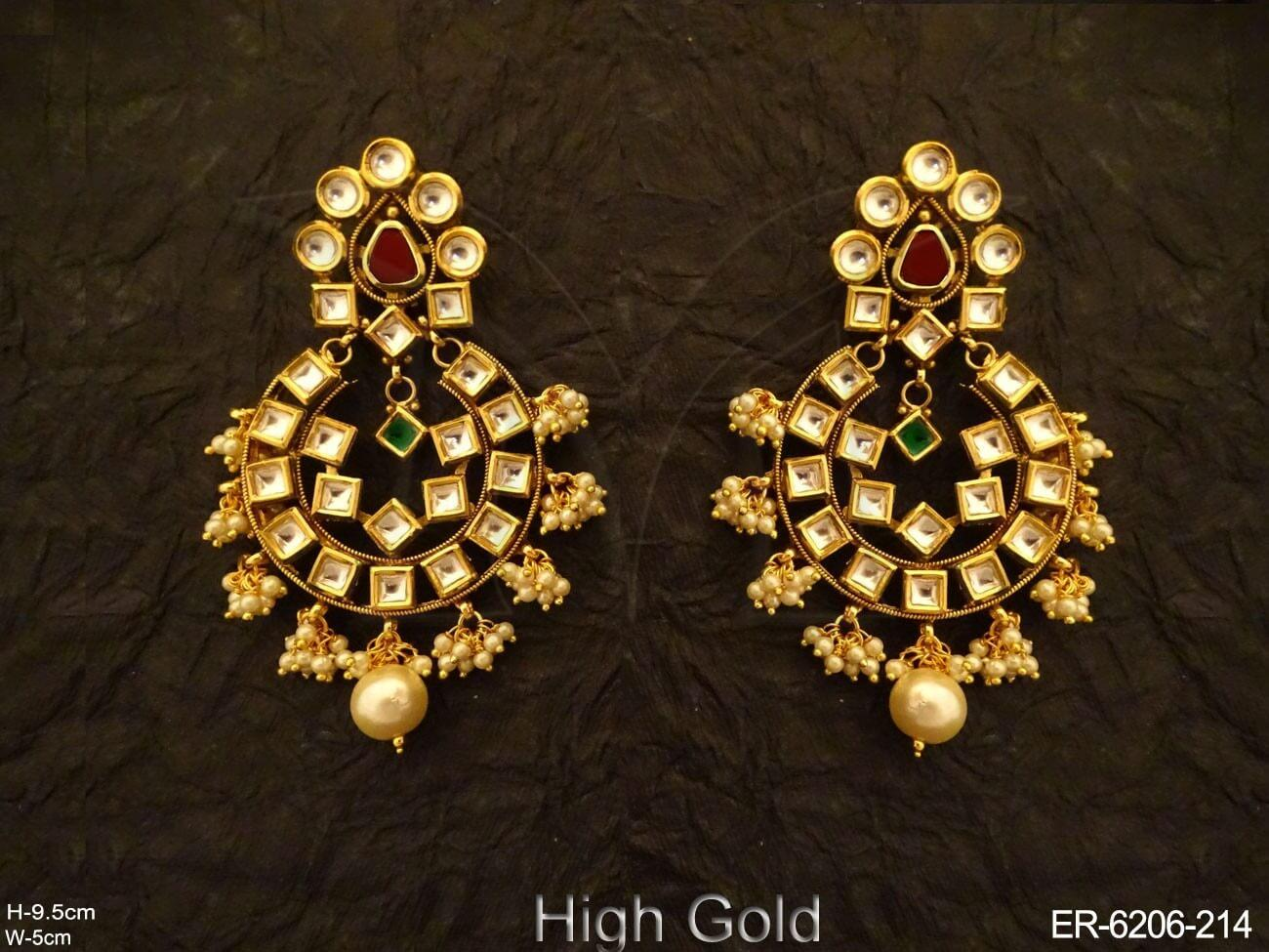 Full Stone Style Kundan Earrings