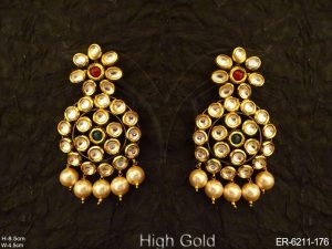Round Shape Full Stone Kundan Earrings