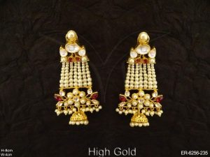 Long Designer Flowery Kundan Set Earrings