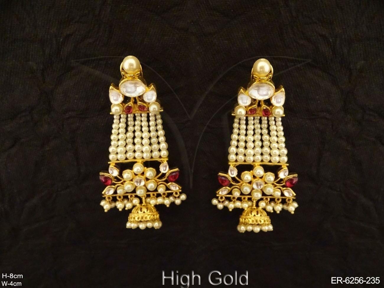 Long Designer Flowery Kundan Set Earrings