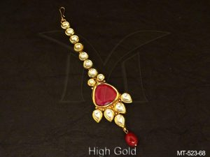 Triangular Shape Full Stone Kundan Maang Tikka