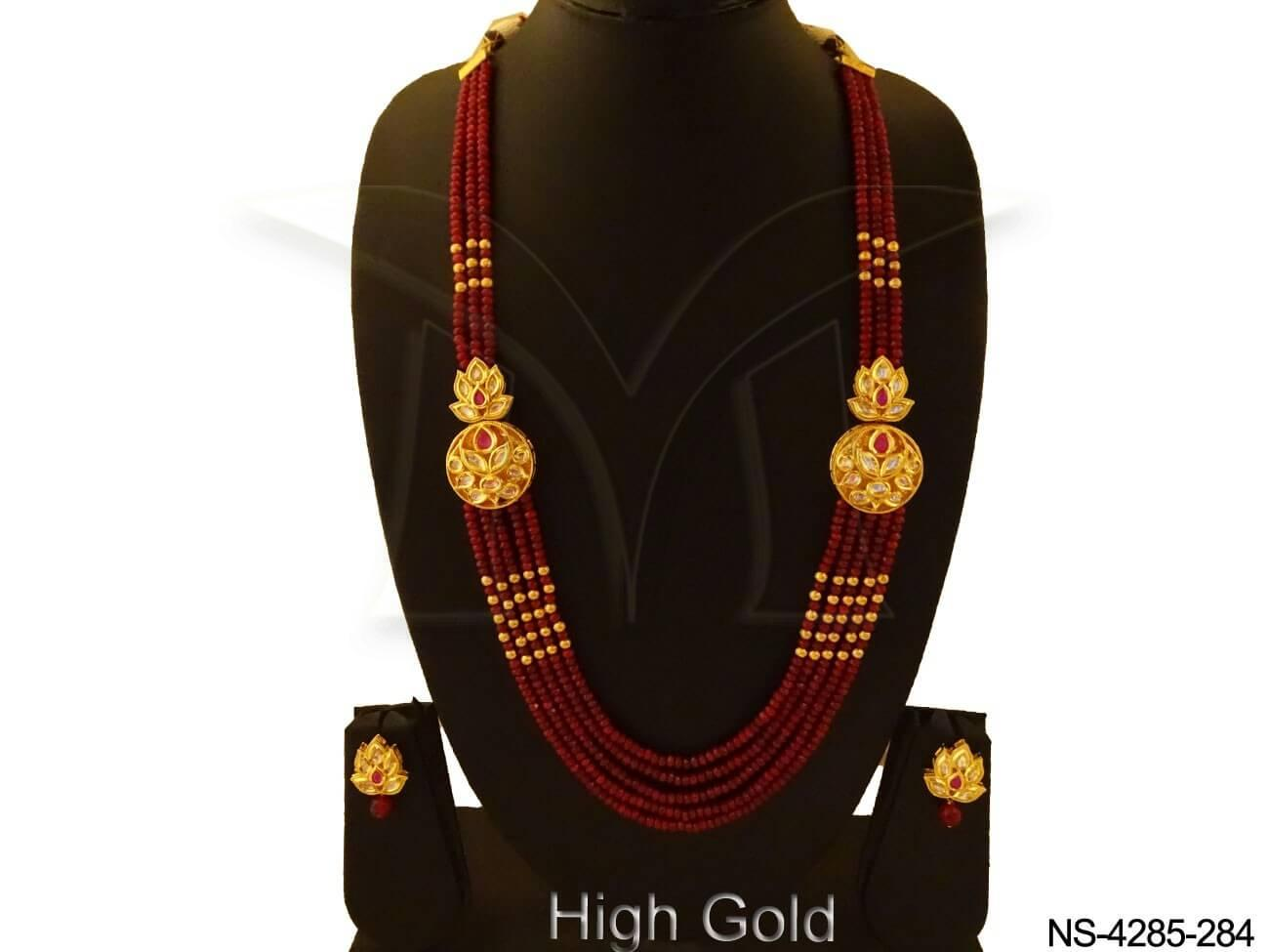 Long Diya Style Designer Kundan Necklace Set Jewellery